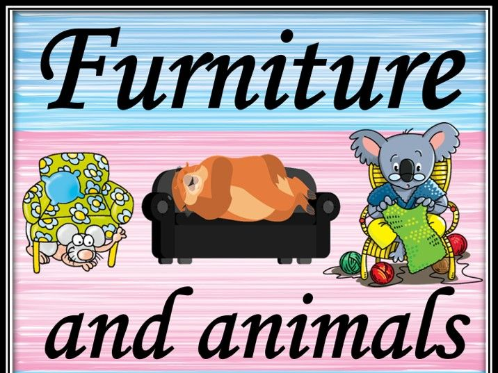Furniture and animals. Listening game.