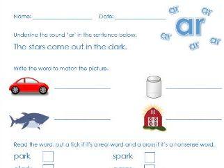Phonics Phase 3 'ar' sound worksheet