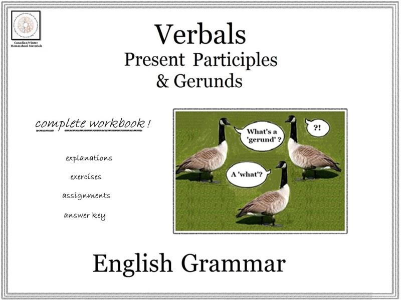 English Grammar: Present Participles & Gerunds (B&W)