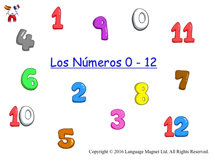 Spanish Numbers 0 to 12 with Audio File