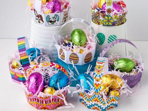 DIY Easter Egg Basket Templates (Set of 8) | 8 printable PDF templates to make + color for Easter