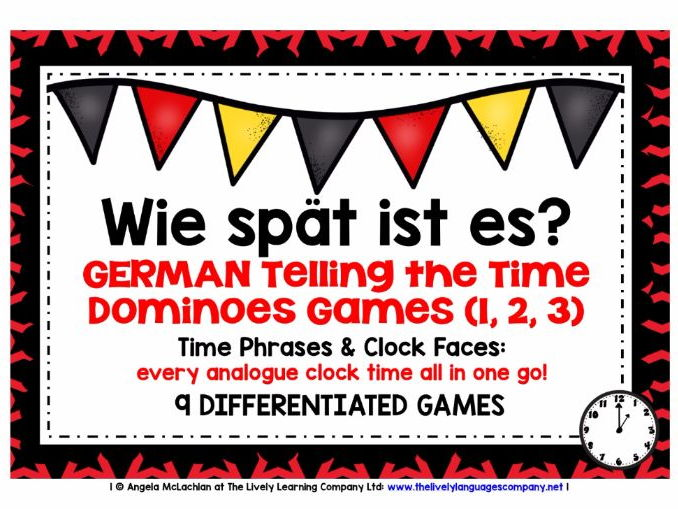 GERMAN TELLING THE TIME - NINE DIFFERENTIATED DOMINOES GAMES - EVERY ANALOGUE CLOCK TIME IN GERMAN!