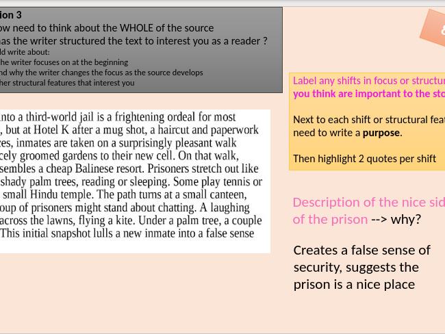 AQA Language Paper 1 Section A Q1,2,3