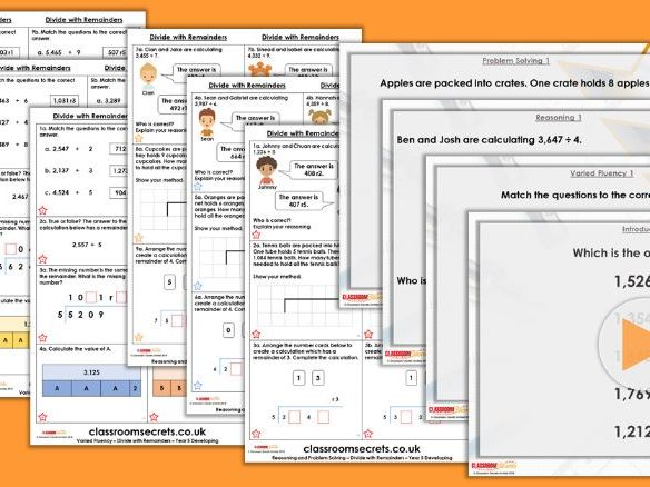 Year 5 Divide With Remainders Spring Block 1 Step 7 Lesson Pack