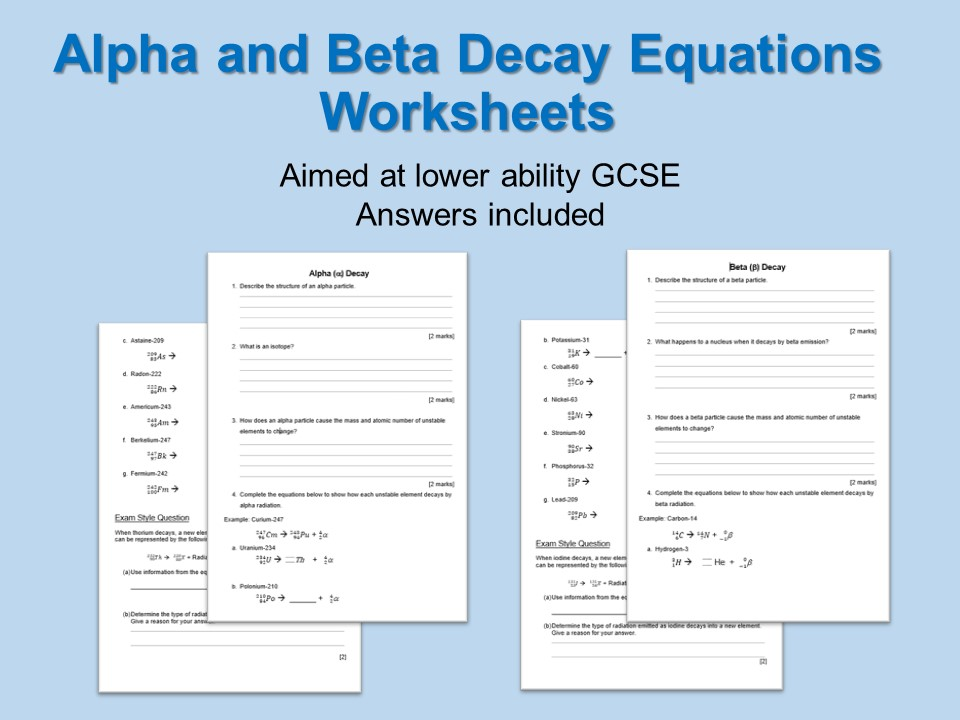 Radioactive Decay Equations Worksheets