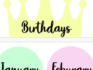 Birthdays display (pastel)