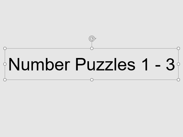 Number Puzzles 1 - 3