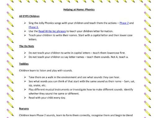 Printable Sheet of Home Learning Activities for Phonics (EYFS)
