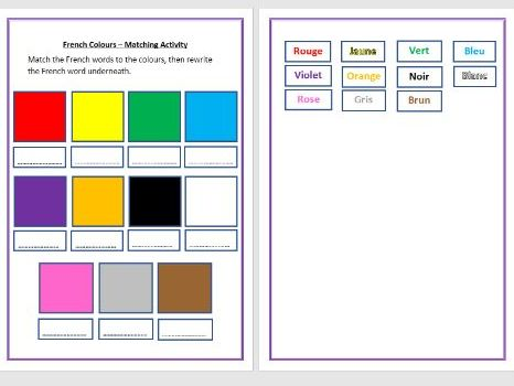 French - Colours Sorting Activity