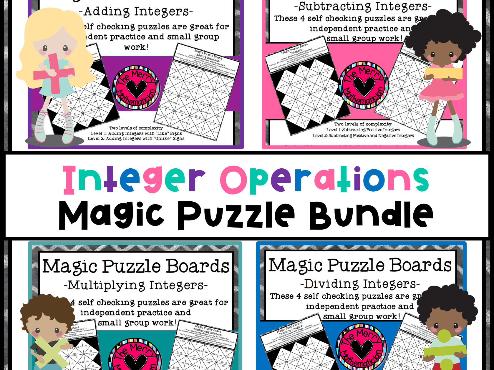 Integer Operations Magic Puzzle Board Bundle