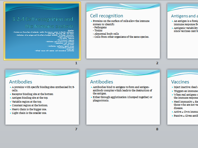 AQA A Level Biology New Spec 3.2.4 Cell recognition and the immune system