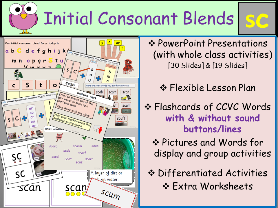 Phonics: Phase 4 Consonant Blend Sc-CCVC Words, Presentation, Lesson Plan, Worksheets, Flashcards