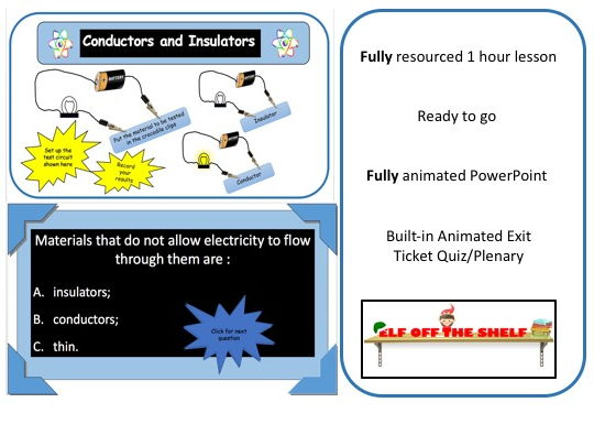 Electricity - Conductors and Insulators KS3 Animated PowerPoint and Resources