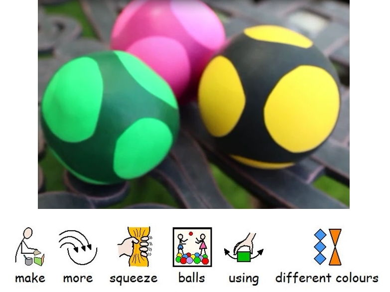 How to make squishy sensory squeeze stress balls from balloons and flour.  Videos and instructions
