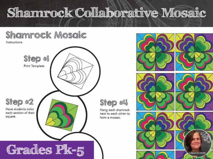 Shamrock Mosaic - Interactive Coloring Sheets - St. Patrick's Day Art Lesson