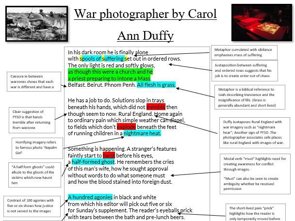 War Photographer level 9 Lesson with Annotations Sheet