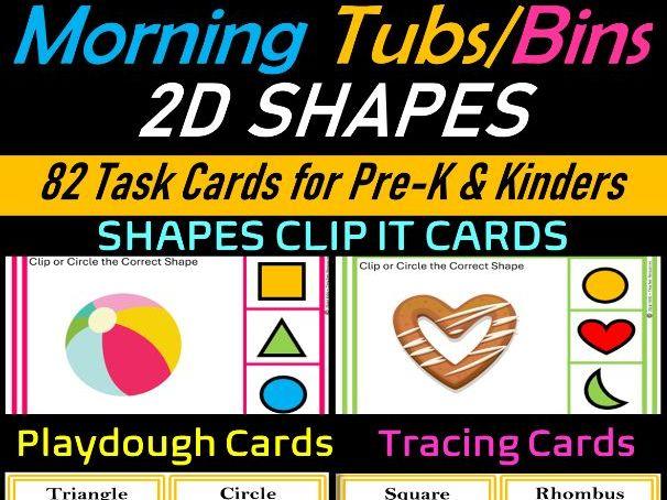 2D SHAPES Math Center Task Cards for Pre-k & Kindergarten  Morning tubs/Bins