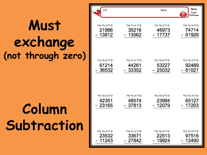 Subtraction worksheet with answers - 3 levels of differentiation KS2 Year 3 4 5 6 Must exchange
