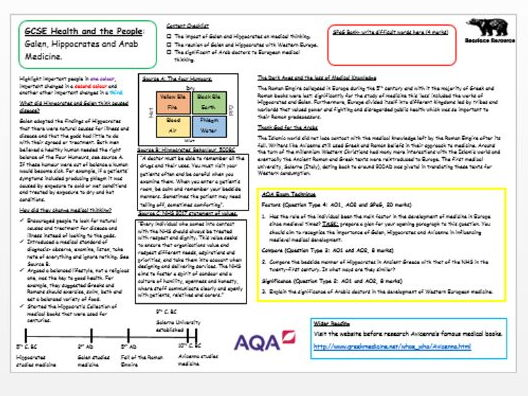 GCSE Public Health A3 info-mat: Ancient and Arabic Medicine