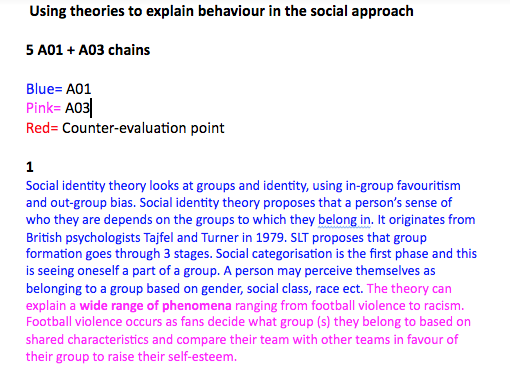 A level edexcel psychology 12 marker-  Using theories to explain behaviour in the social approach