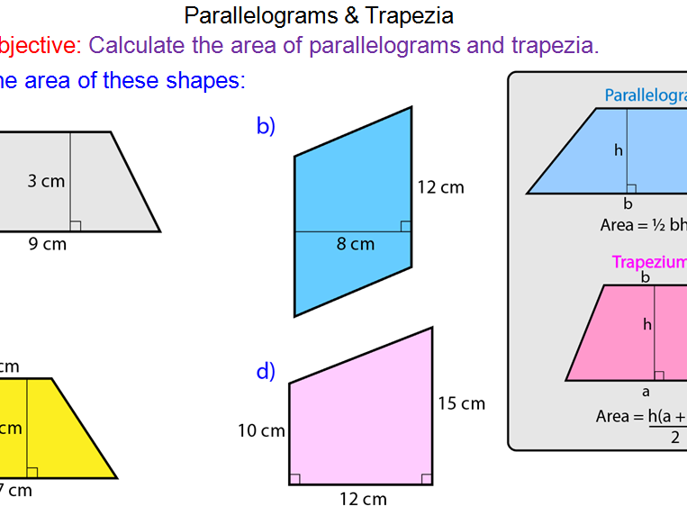 Area of rectangles triangles and parallelograms worksheet tes