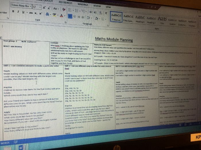 Money planning and resources - Year 2