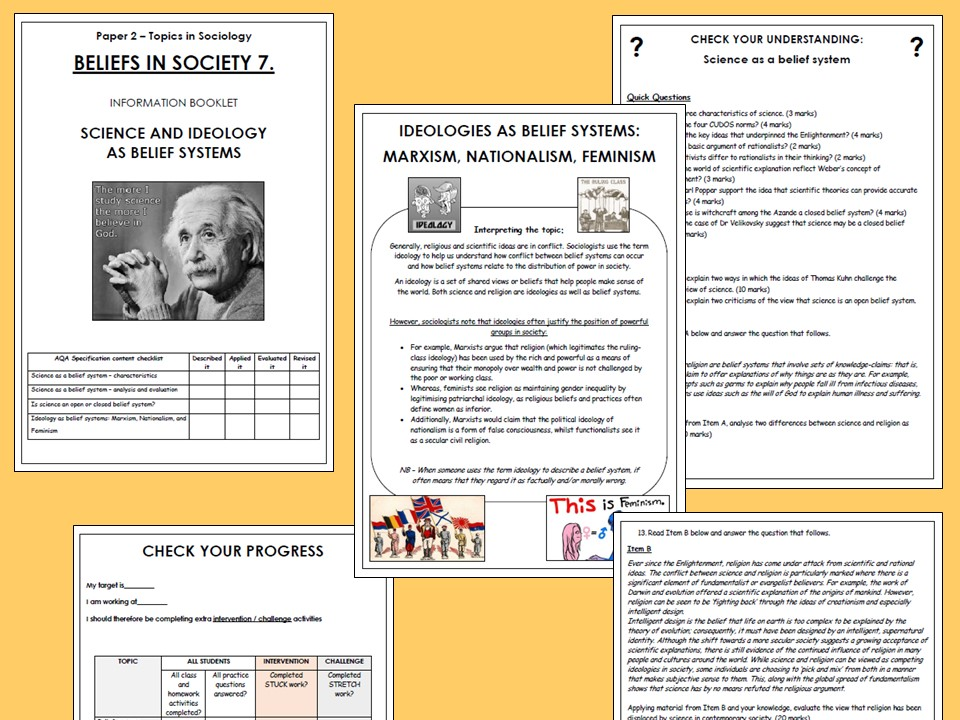 AQA A-level Sociology Beliefs in Society Booklet 7 - Science and Ideology