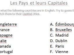 Match countries and capital cities in French