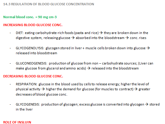 Regulation of Blood Glucose [REVISION NOTES]