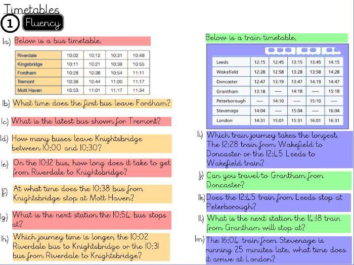 Statistics- Timetables- Year 5