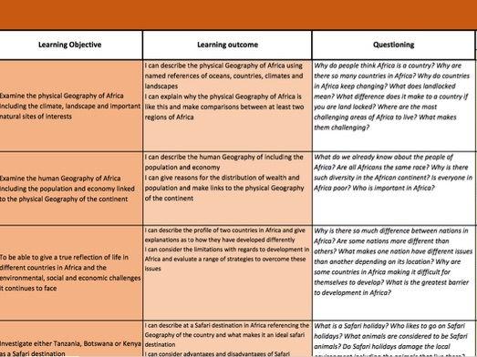 Africa - Scheme of work