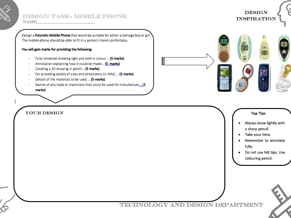 Mobile phone design task worksheet - Suitable for covering Technology and Design lessons