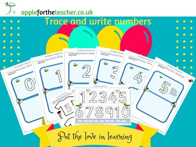Trace write numerals to 10 activities EYFS SEN Year 1