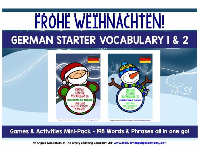 GERMAN STARTER VOCABULARY (1&2) - CHRISTMAS EDITION - GAMES & ACTIVITIES