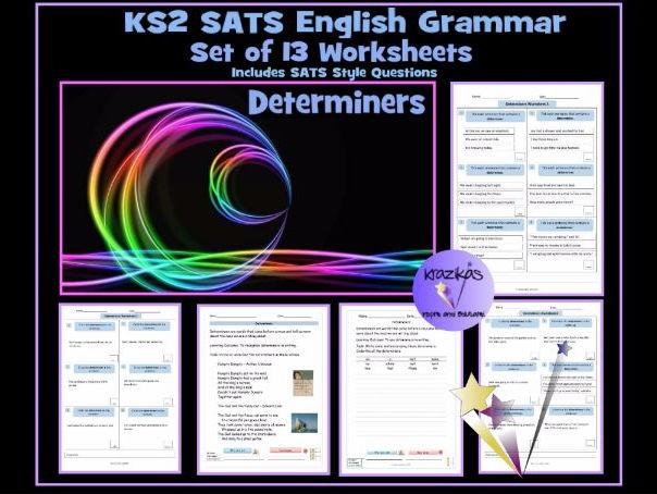 ks2 sats english grammar 13 worksheets on determiners determiner revision sheet by krazikas. Black Bedroom Furniture Sets. Home Design Ideas