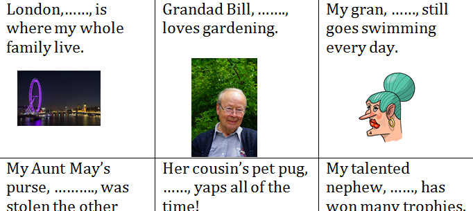 Use relative pronouns, fun dice game: 'Meet the relatives', write relative clauses