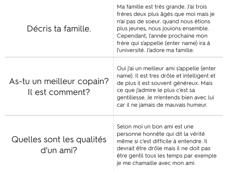 French General Conversation Answers AQA GCSE (9-1)