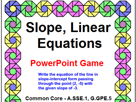 SLOPE AND LINEAR EQUATIONS POWERPOINT GAME