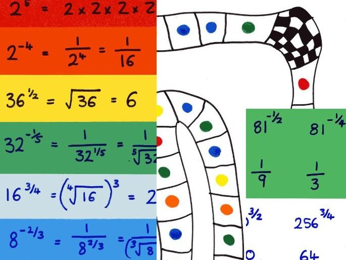 Fractional and negative indices matching cards and board game