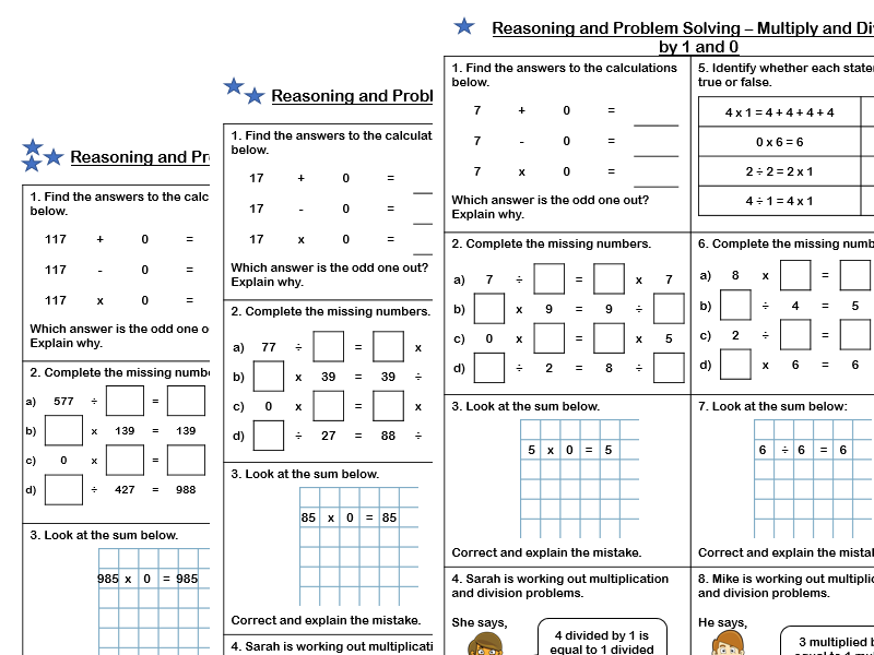 White Rose Maths - Year 4 - Block 4 - Multiply and Divide by 1 and 0 (Problem Solving)