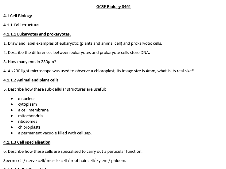AQA GCSE Biology: 441 revision questions based directly from the specification