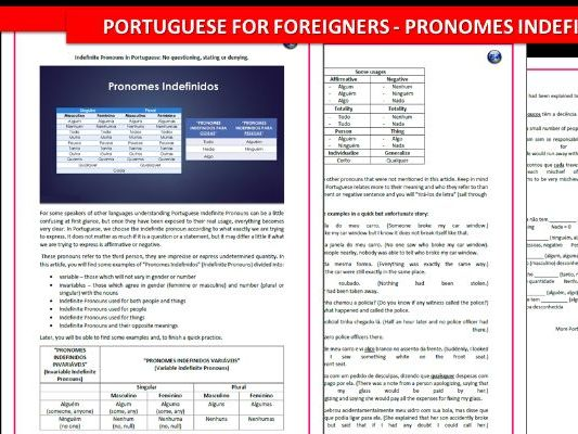 Portuguese Indefinite Pronouns
