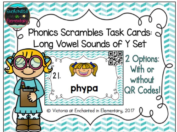 Phonics Scrambles Task Cards: Long Vowel Sounds of Y Set