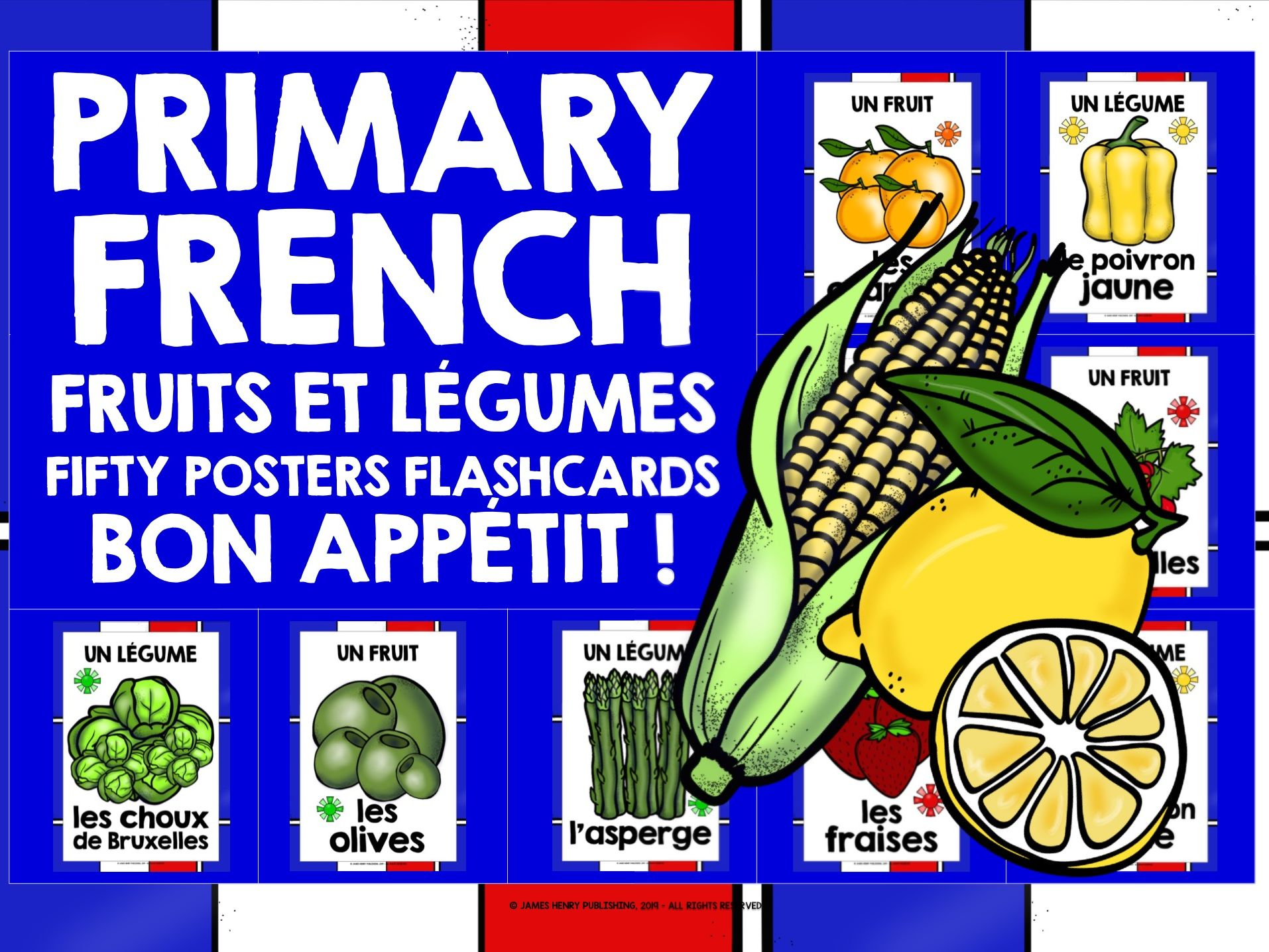 PRIMARY FRENCH FRUITS & VEGETABLES POSTERS FLASHCARDS