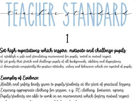 Teachers Standards Folder Dividers
