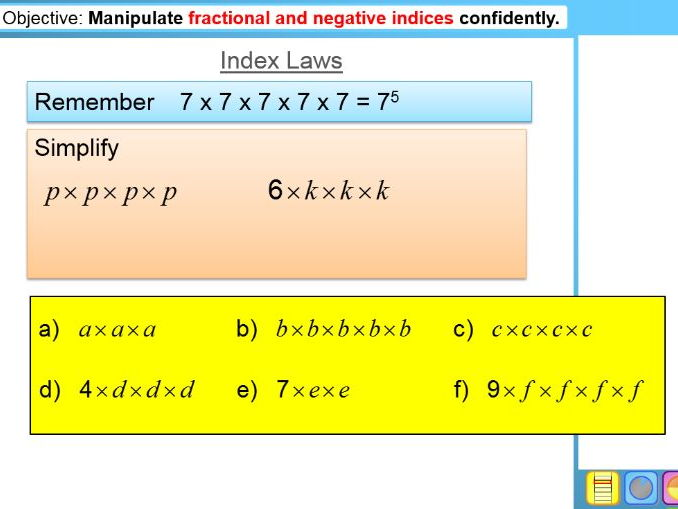 Index Laws & Manipulating Indices (Year 9,10)