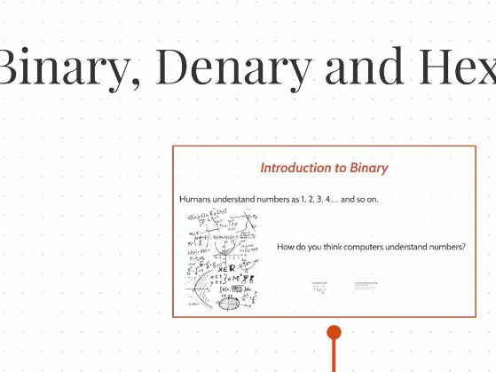 Binary, Denary and Hexadecimal