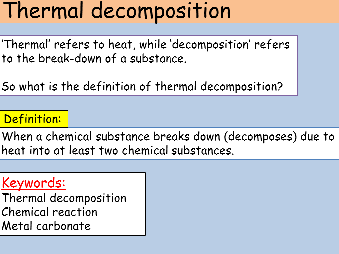 Thermal Decomposition KS3 Full Lesson