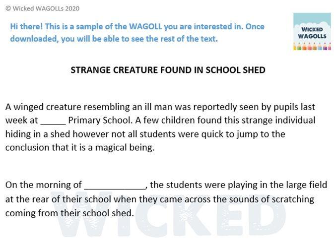 Newspaper Report on Skellig Creature Found in School