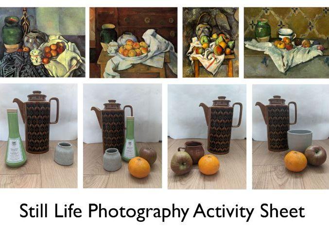 Still Life Photography activity sheet